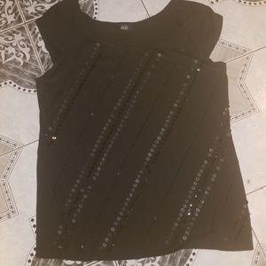 AGB Ladies Black Sequin Knit Top L